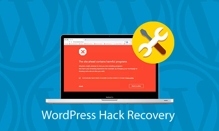 WordPress Hack Recovery - process includes: Determining the cause of the hack, Evaluating the amount of damage caused to the website, Cleansing all infected files, Restoring unrecoverable files from backup, Performing tests and analysis to confirm full website restoration.